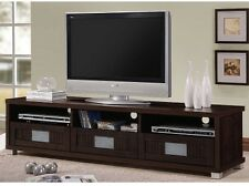"Wide Credenza 75"" TV Stand Media Center Console Low Drawer Shelves Wood Espresso"