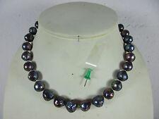 Perlenkette Halskette echt schwarze große Tahiti Zuchtperle & Silber Verschluß