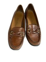 Etienne Aigner Flats Loafers Lynda Women Brown Leather Shoes Sz US 7.5M