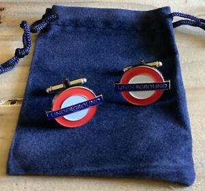 London Underground Cuff Links in A Velveteen Gift Bag
