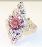 Fashion Women 925 Silver Pink Sapphire Ring Lady Wedding Jewelry Gift Size 6-10