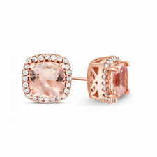 18K Rose Gold Plated Morganite 7mm Halo Stud Earrings ITALY MADE