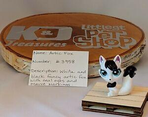 Littlest Pet Shop White and Black Arctic Fox #3958 Authentic LPS