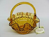 "Vintage Fenton Amber Glass Thumbprint Ruffled Edge Basket with Handle 8"" Tall"