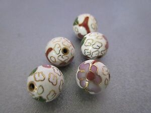 White Cloisonne Round 12mm Beads 5pcs
