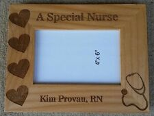 Personalized Laser Engraved 4x6 wood frame for Registered Nurse Graduation Gift