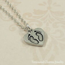 Silver Heart with Footprints Charm Necklace - Baby Feet Newborn Pendant Jewelry