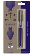 Parker Classic Matte Navy Blue CT Chrome Trim Ball Pen, Blue Ink Refill Jotter
