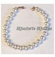Bracelet Perle De Majorque Plaqué Or 18 Carats 19 cm Bijoux Femme