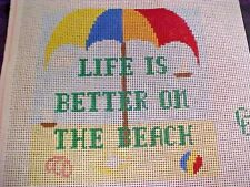Needlepoint Canvas Connection Hand Stitch Painted Life is Better on the Beach