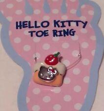 Sanrio Hello Kitty Enamel Cake w Strawberry Stretch Toe Ring w Crystal New