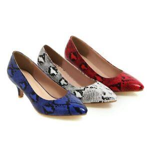 Women's Mid Kitten Heel Pumps Snakeskin Faux Leather Pointed Toe Plus Size Shoes