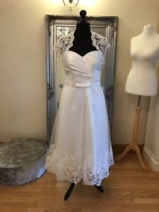 Bridal Gown/Wedding dress & Jacket,Short Tea Length,Lace/Tulle,size 14 Brand New