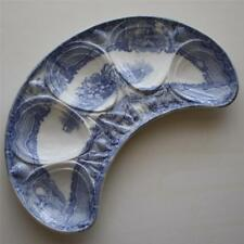 """Copeland Spode """"Seasons"""" Antique Transferware Crescent Oyster Plate - RARE"""