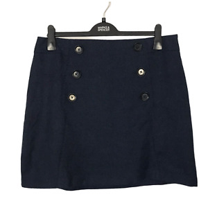 M&S Collection Size 16 EUR 44 Blue Tweed A-Line Lined Casual Office Mini Skirt