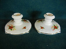 Royal Albert Poinsettia Christmas Pattern Set of 2 Candle Holders