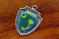 Vintage silver AIKEN SOUTH CAROLINA FLAG TREE MOON TRAVEL SHIELD charm #E30
