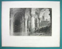 CONSTANTINOPLE Basilica Yere Batan Serai - 1840 Antique Print by Allom