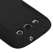 Samsung Galaxy S III 3 MESH Hybrid Silicone Rubber Skin Case Phone Cover Black