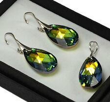 925Silver Earrings/Set with Swarovski Crystals 22mm PEAR Dangle - Sahara