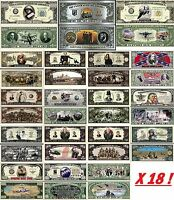 LOT x18 BILLETS DOLLARS GUERRES AMERICAINES! COLLECTION CONFLITS US Histoire USA