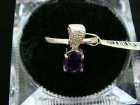 14K WHITE GOLD AMETHYST AND DIAMOND RING OR PENDANT **CAN BE WORN AS BOTH**