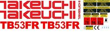 TAKEUCHI TB53FR MINI DIGGER COMPLETE DECAL SET WITH SAFETY WARNING SIGNS