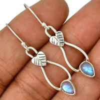 Rainbow Moonstone - India 925 Sterling Silver Earrings Jewelry AE102944 190R