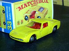 Matchbox Lesney Lamborghini P400 Miura 33 c2 yelo red int SC1 VNM & crafted box
