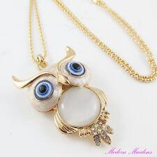 74cm Gold Plate Cats Eye Rhinestone Owl Sweater Necklace