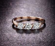 Engagement Three-Stone Rose Gold VVS1 Fine Diamond Rings
