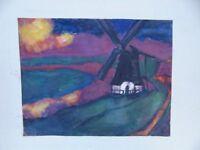 Norddeutsche Landschaft mit Mühle, Aquarell/Pastell,monogrammiert