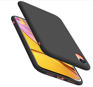 Apple iPhone XR Shockproof Strong Silicone Case Cover Shell Black Free Protector