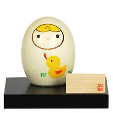"Japanese Wooden Doll Kokeshi Baby Keepsake Bank Yellow Duck Design 2.75"""