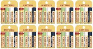 Lot of 10 4-Packs of Burt's Bees Beeswax Lip Balm w Pepp, Cucumber, Coconut, Van