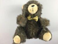 "Fairview Plush Bear VTG Stuffed 13"" Fat Furry Cuddly Yellow Bow Tie Teddy Kids"