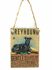 Greyhound (Black) Mini Metal Plaque/Sign - Dog - Retro - Vintage - Pressie