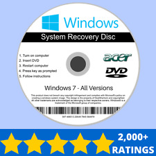 Acer Windows 7 Recovery Reinstall Repair Install Installation DVD Disc 32/64 bit