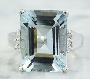 9.10 Carat Natural Aquamarine 14K White Gold Diamond Ring