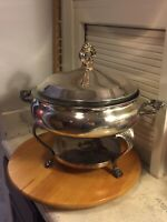 FB Rogers Silverplate Casserole Chafing Dish with Pyrex Bowl