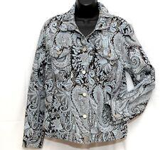 471faca32da0e Multiples Womens Jacket Cotton Blend Tapestry Paisley Jacquard Button Top  Sz M