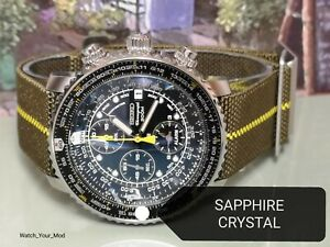 Seiko SNA411P1 Flightmaster upgraded with SAPPHIRE crystal SNA411