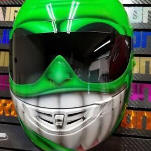 Smiling Face in Neon Green Custom Painted Airbrushed Motorcycle Helmet