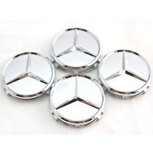 4X Mercedes Benz Center Caps Silver Matte 3 Inch/75mm Fit Models C E CLS S (S)