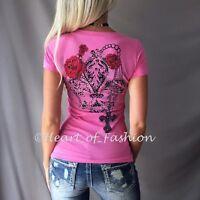 VOCAL Women Floral Stone Embellished Fleur-de-lis Graphic Biker V-Neck Top Shirt