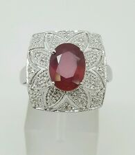 Vintage 14k White Gold Natural Diamond & Oval Red Ruby Filigree Ring Size 8.5