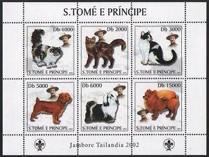 São Tomé & Príncipe 2003 - Mi-Nr. 2112-2117 ** - MNH - Katzen, Hunde - Scouts