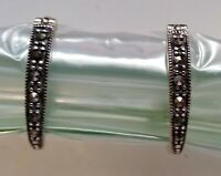 "Vintage~~Sterling Silver 925~~Thailand~~Marquisette Pierced 1"" Earrings"