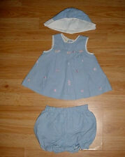 Vtg-Little Bitty-Shabby Chic Roses-Girls Party 3pc Photo Summer Dress Hat-3-6 mo