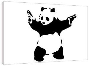 Banksy Pandamonium Panda Black and White Canvas Wall Art Picture Print